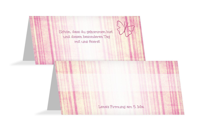 Tischkarte Firmung Butterfly 2