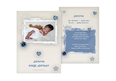 Baby Dankeskarte zarte Blüte