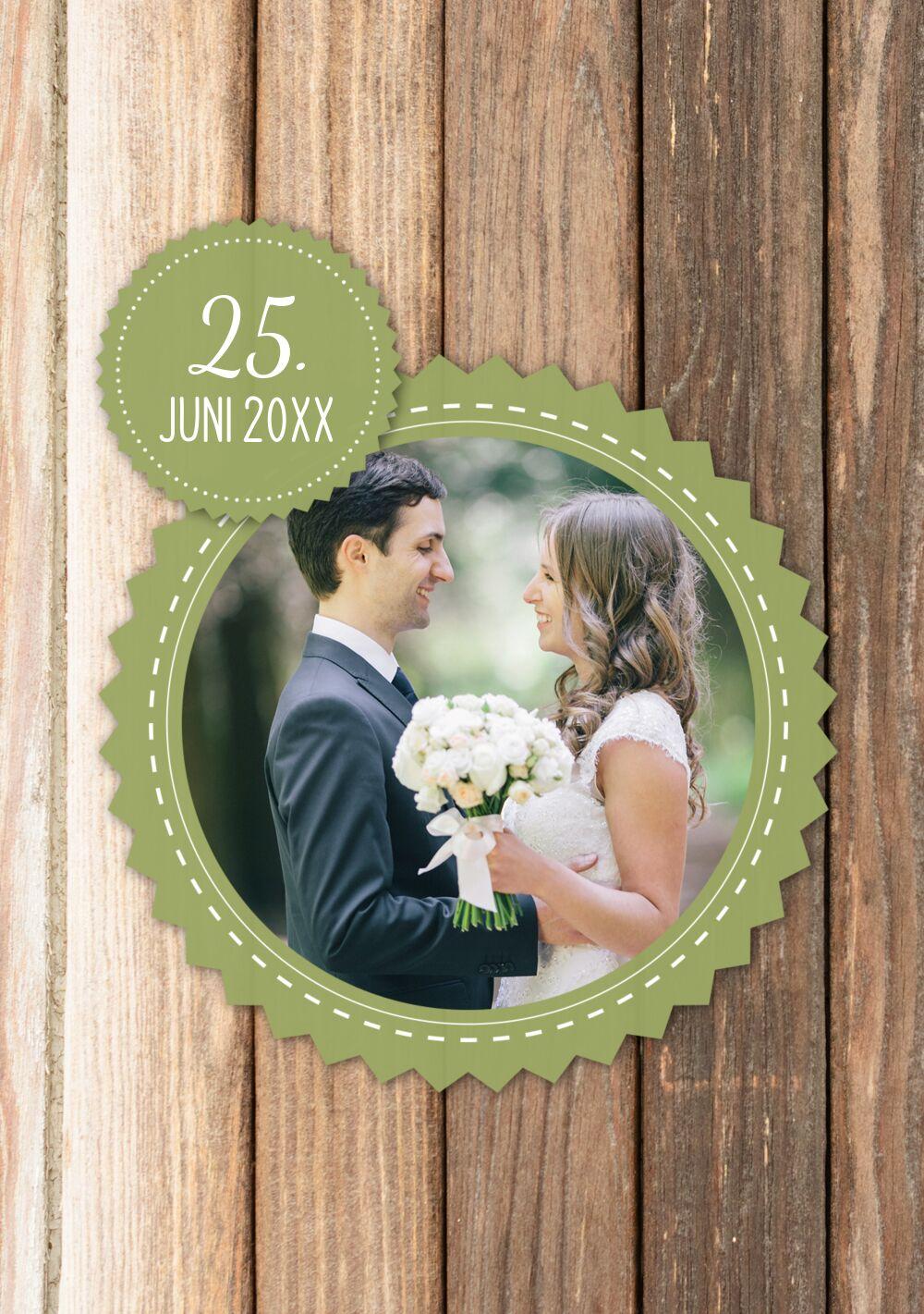 Ansicht 4 - Hochzeit Dankeskarte Vintage Holz
