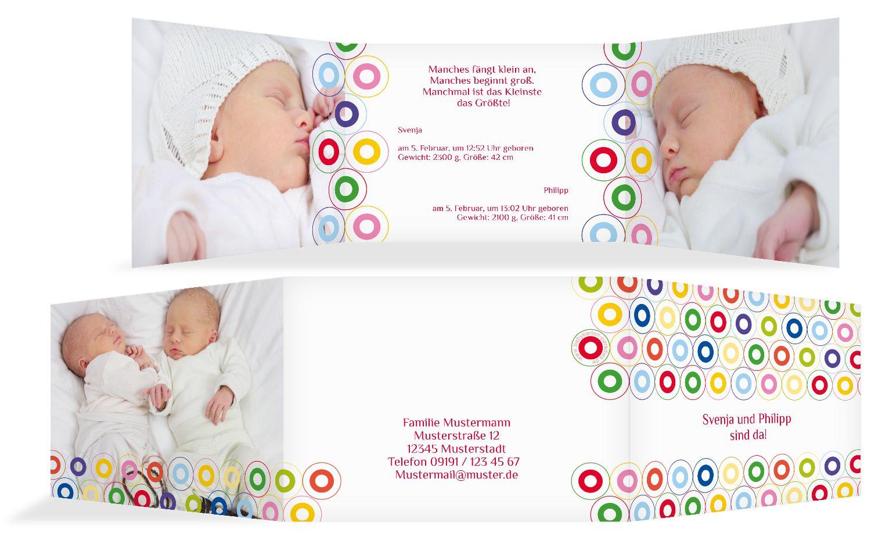 Babykarte Zwillinge bunt