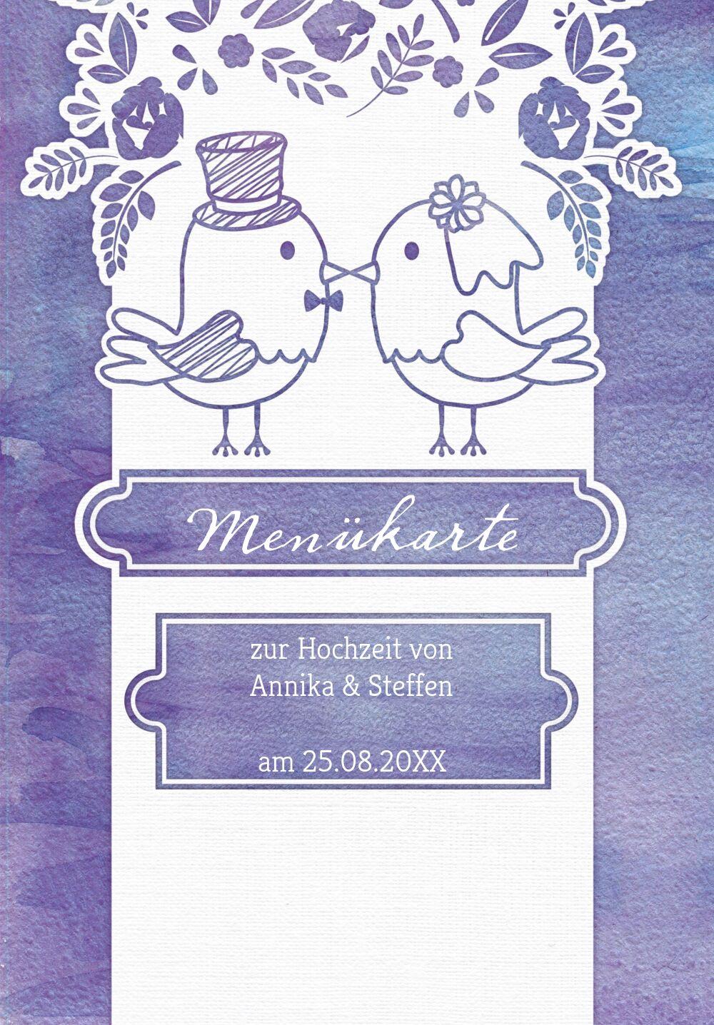 Ansicht 3 - Hochzeit Menükarte Vogelpaar