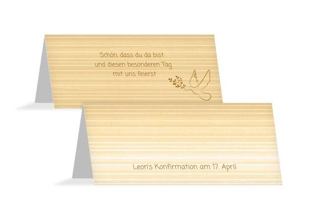 Tischkarte Konfirmation Taube 2