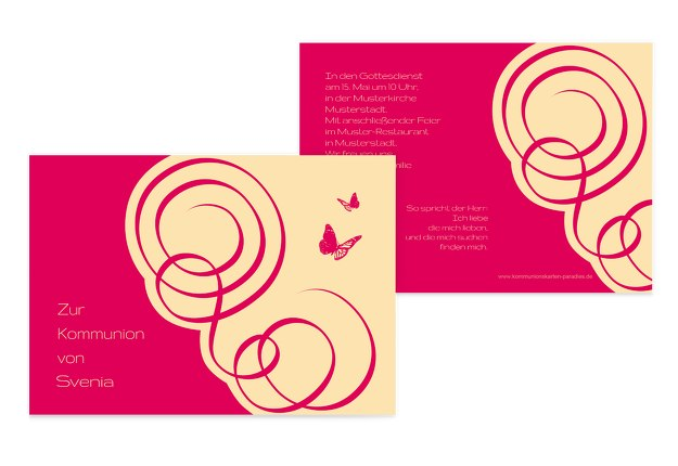 Kommunionskarte Butterfly