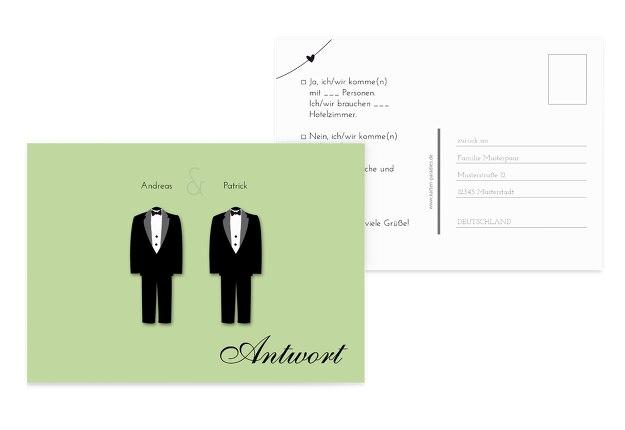 Hochzeit Antwortkarte suits