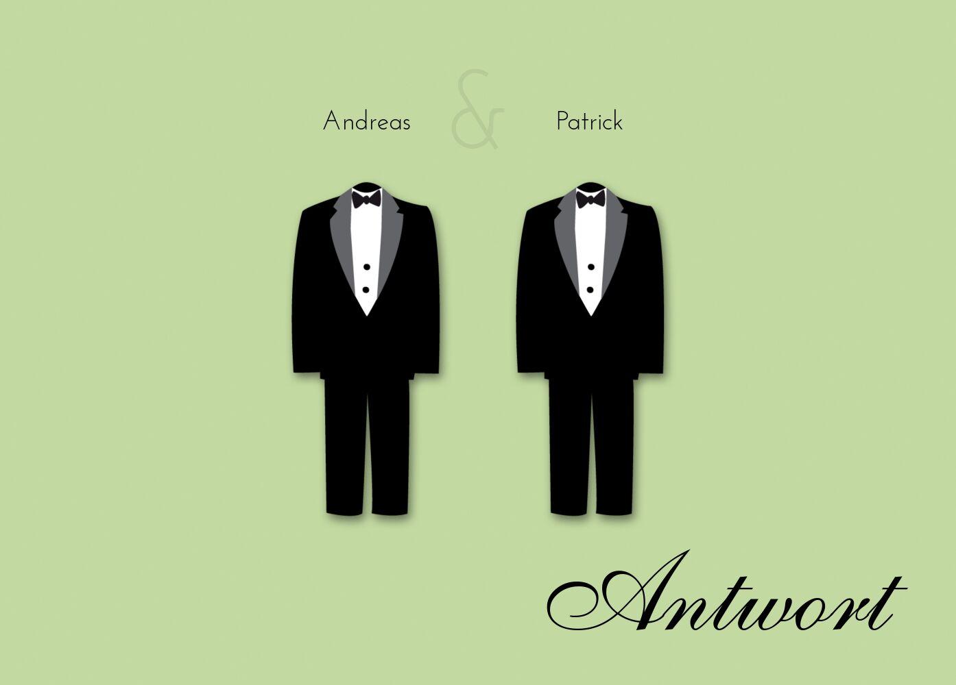 Ansicht 2 - Hochzeit Antwortkarte suits