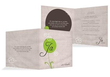 Hochzeit Einladung 2 Fantasyflower Grasgruen 145x145mm