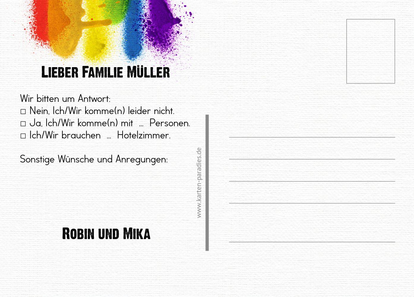 Ansicht 3 - Antwortkarte Regenbogenliebe