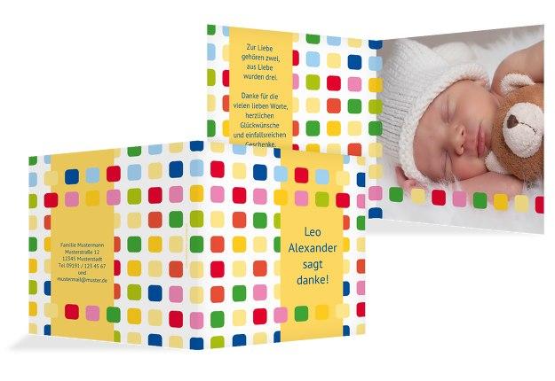 Baby Dankeskarte Viereck