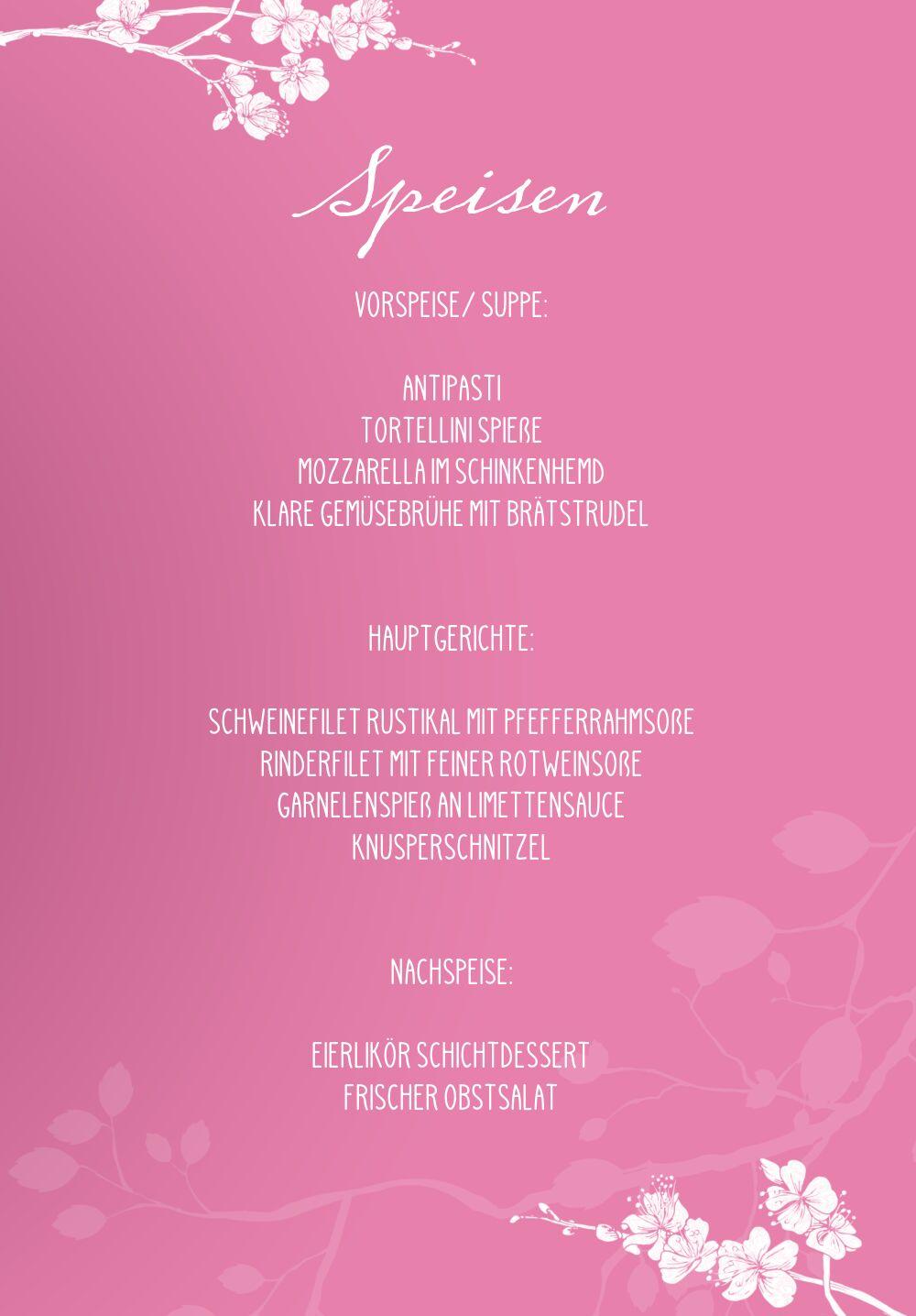 Ansicht 5 - Hochzeit Menükarte Cherry Blossom