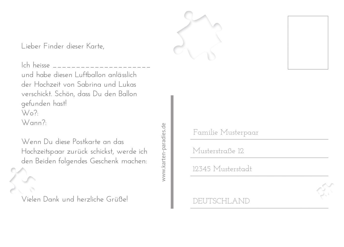 Ansicht 3 - Hochzeit Ballonkarte Puzzle