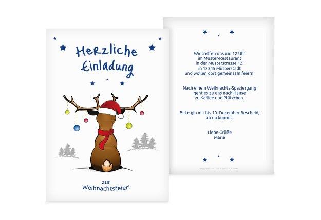 Lustige Einladungstexte Weihnachtsfeier Kollegen.Einladung Rudolph