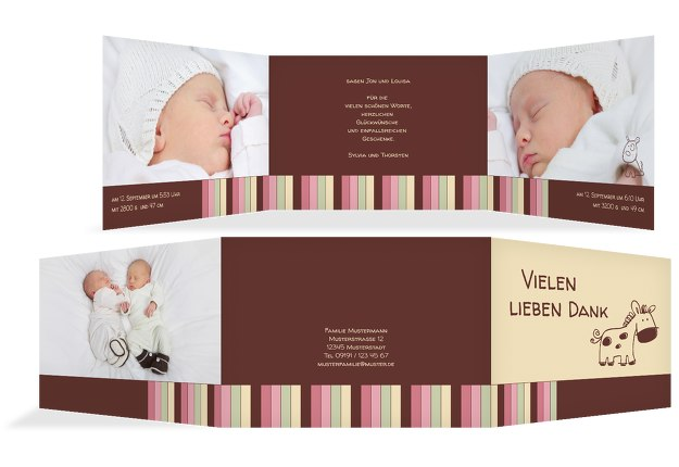 Baby Dankeskarte Zwillinge Retro