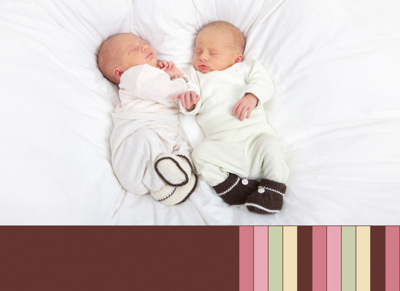 Ansicht 2 - Baby Dankeskarte Zwillinge Retro