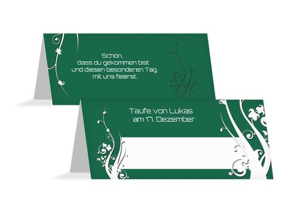 Taufe Tischkarte Florale Schnörkel