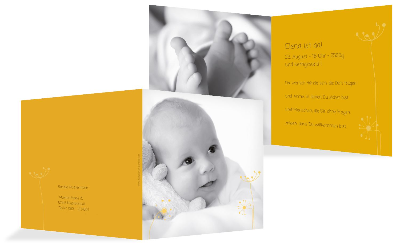 Babykarte abstrakte Blumen
