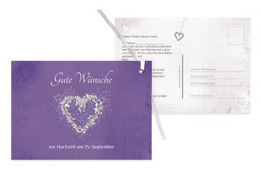 Hochzeit Ballonkarte glamour heart