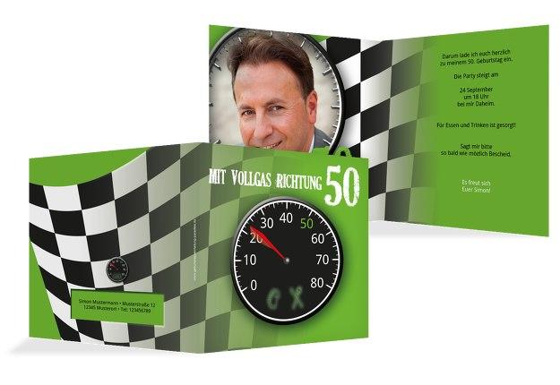 Geburtstagseinladung Vollgas 50