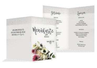Hochzeit Menükarte Bouquet