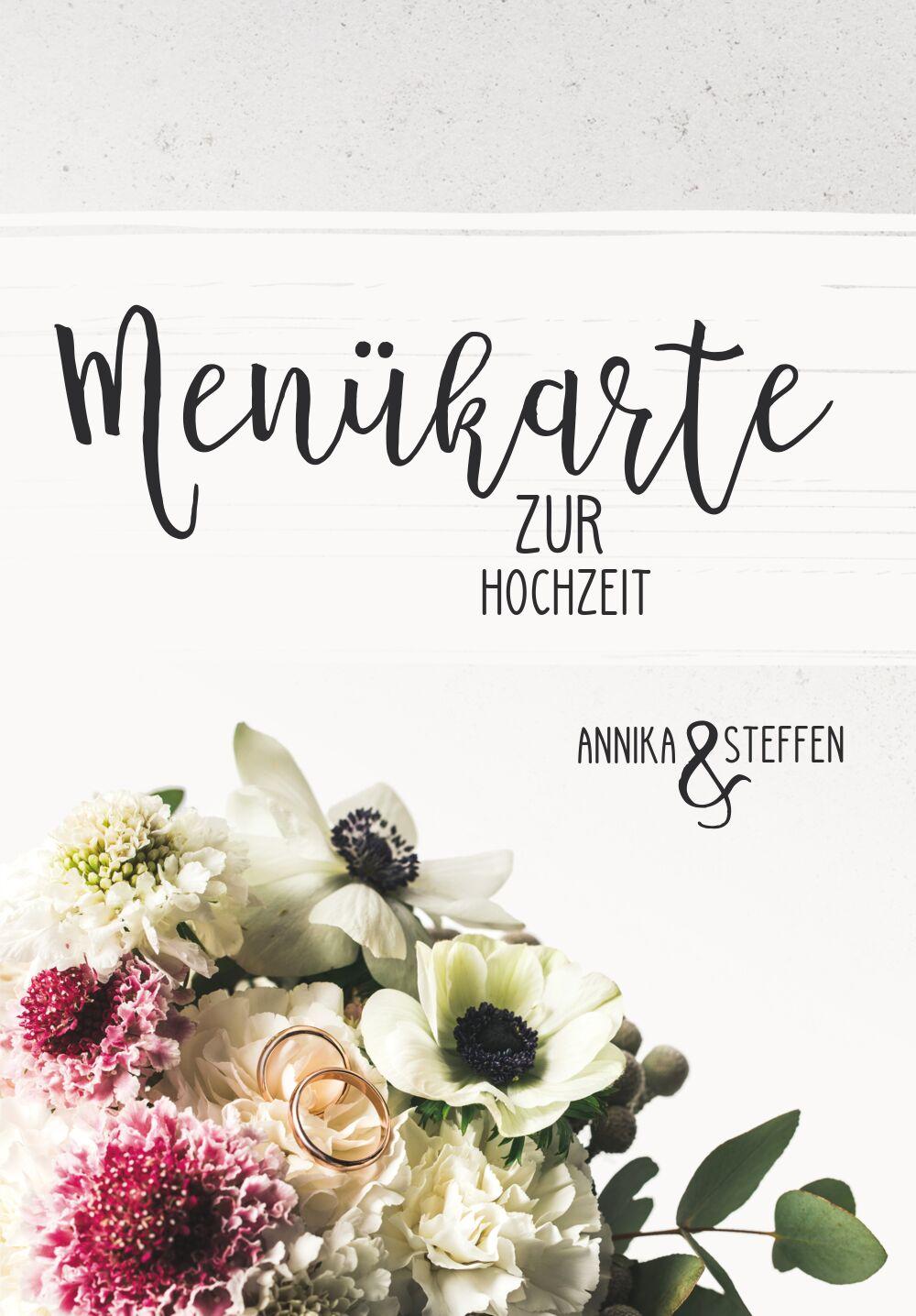 Ansicht 3 - Hochzeit Menükarte Bouquet