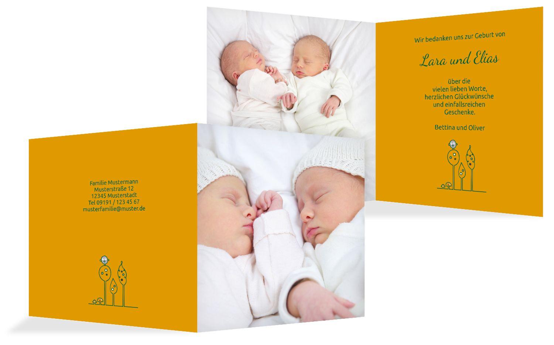 Baby Dankeskarte Zwillinge Easy