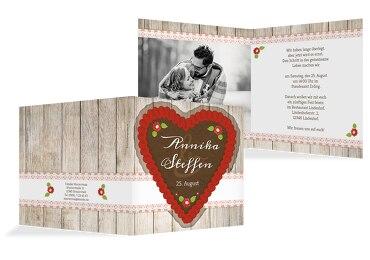 Hochzeit Einladung München Rot 145x145mm