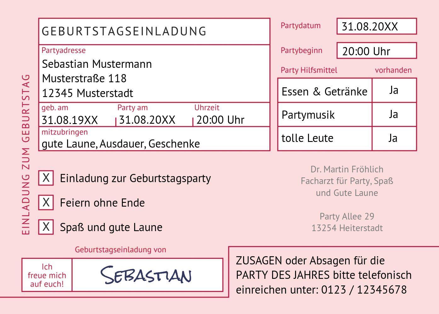 Ansicht 2 - Einladungskarte Partyrezept