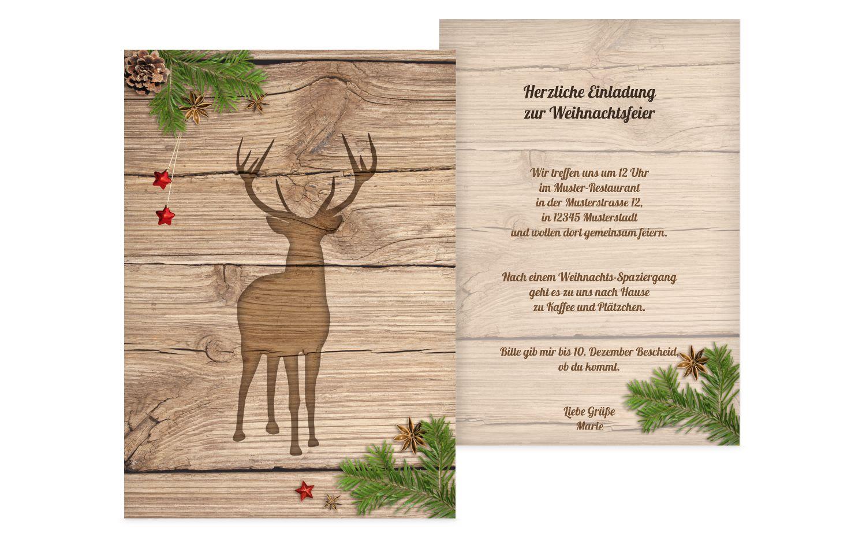 Einladung Holztisch