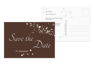 Hochzeit Save the Date romantic flower braunmatsch 148x105mm