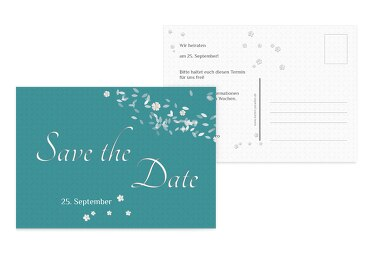 Hochzeit Save the Date romantic flower Türkisblaukräftig 148x105mm
