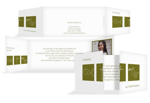 Konfirmationskarte Einladung Triple