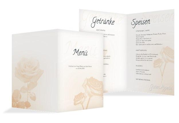 Hochzeit Menükarte Rose