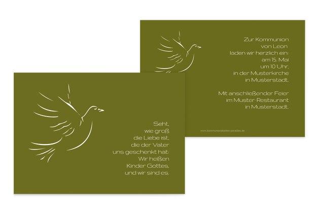 Kommunionskarte Pigeon