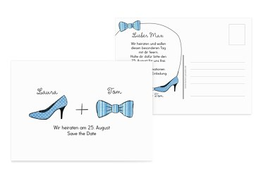 Save the Date High Heel und Fliege HellBlau 148x105mm