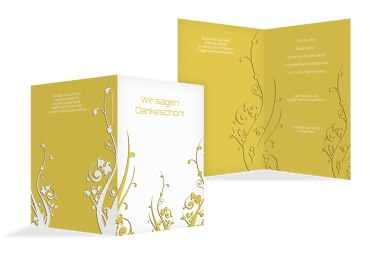 Taufe Dankeskarte Florale Schnörkel 2