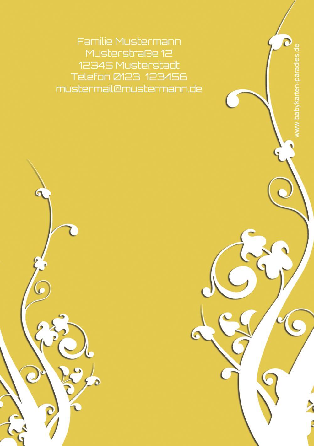 Ansicht 2 - Taufe Dankeskarte Florale Schnörkel 2