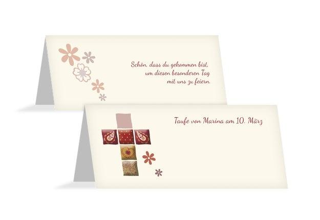 Tischkarte Florales Kreuz