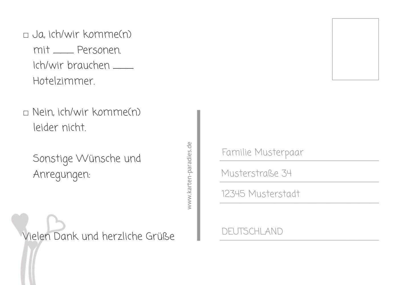 Ansicht 3 - Hochzeit Antwortkarte Wir heiraten