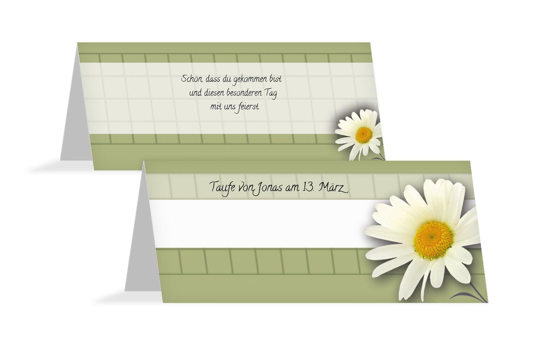 Taufe Tischkarte Margeriten