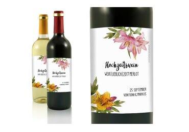 Hochzeit Flaschenetikett Blumendeko