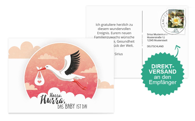 Glückwunschkarte zur Geburt Storch