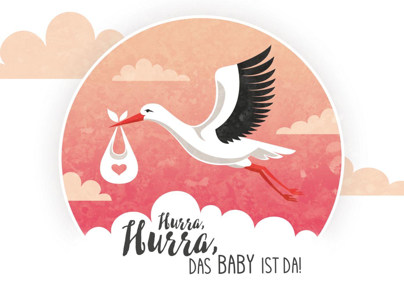 Ansicht 2 - Glückwunschkarte zur Geburt Storch