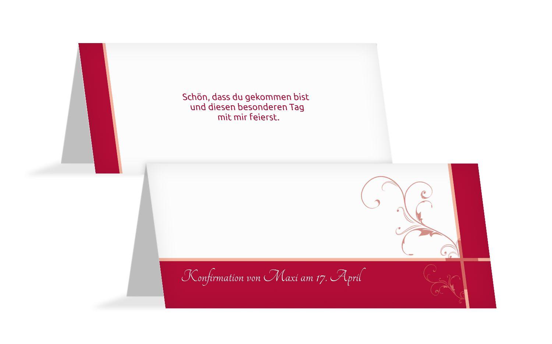 Tischkarte zur Konfirmation floral