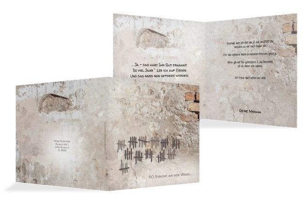 Einladung Striche an der Wand 60