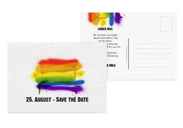 Save-the-Date Regenbogenliebe Weiß 148x105mm