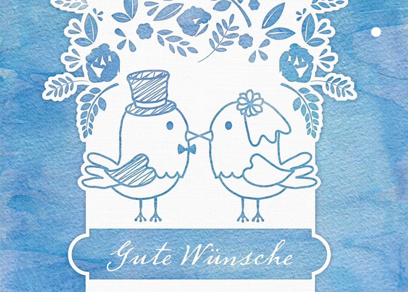 Ansicht 2 - Ballonkarte Vogelpaar