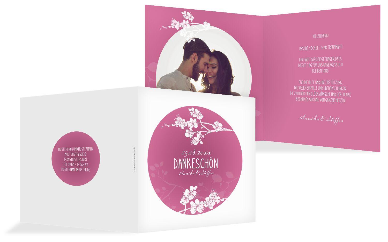 Hochzeit Dankeskarte Cherry Blossom