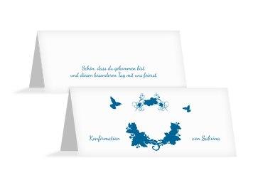Konfirmation Tischkarte Vogel
