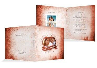 Hochzeit Einladungskarte Herz Dunkelorange 145x145mm