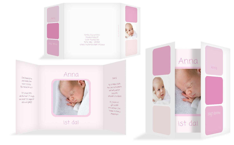 Baby Dankeskarte Kästchen