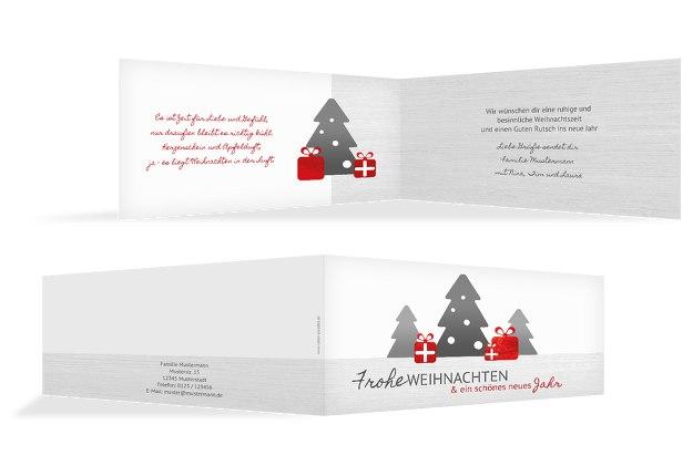 Weihnachtsgrußkarte Geschenkebaum